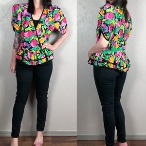 Vintage 1980s Floral Puffy Sleeved Blouse